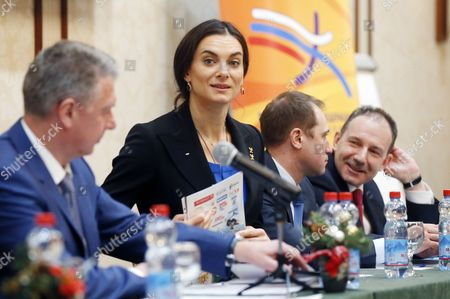 Russian Olympic Champion Pole Vaulter Yelena Isinbayeva (2-l) Takes Part in the Russian Track and Field Federation Conference to Elect Their New President in Moscow Russia 09 December 2016 Russian National Track and Field National Team was Banned to Take Part in the Olympic Games in Rio Due to Mass Anti- Doping Rules Violation Russian Federation Moscow
