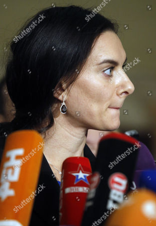 Russian Olympic Champion Pole-vaulter and Russia's Representative in Wada Yelena Isinbayeva Talks to the Media As She Takes Part in the Russian Track and Field Federation Conference to Elect Their New President in Moscow Russia 09 December 2016 Russian National Track and Field National Team was Banned to Take Part in the Olympic Games in Rio Due to Mass Anti- Doping Rules Violation Russian Federation Moscow