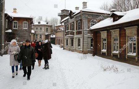 Visitors Walk in an Artificial Scenery Depicting Old Moscow and St Petersburg on the Territory of the Mosfilm Cinema Company in Moscow Russia 09 December 2016 the Director of Mosfilm Studios and Russian Filmmaker Karen Shakhnazarov Shot a New Screen Adaptation of Leo Tolstoy's Novel 'Anna Karenina' Shakhnazarov is Planning to Release a Full-length Film and Tv Version in May 2017 Mosfilm is the Leader of the Russian Film Industry Russian Federation Moscow