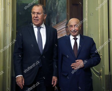 Russian Foreign Minister Sergey Lavrov (l) and Chairman of Lybian House of Representatives Aguila Saleh Issa (r) Arrive For Their Talks in the Russian Foreign Ministry Guest House in Moscow Russia 14 December 2016 Russian Federation Moscow