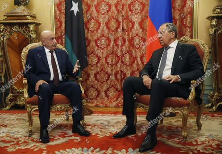 Russian Foreign Minister Sergey Lavrov (l) and Chairman of Lybian House of Representatives Aguila Saleh Issa (r) During Their Meeting in the Russian Foreign Ministry Guest House in Moscow Russia 14 December 2016 Russian Federation Moscow
