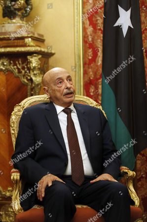 Chairman of Lybian House of Representatives Aguila Saleh Issa During a Meeting with Russian Foreign Minister Sergey Lavrov (not Seen) in the Russian Foreign Ministry Guest House in Moscow Russia 14 December 2016 Russian Federation Moscow