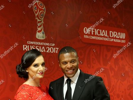Former Russian Pole Vaulter Yelena Isinbayeva (l) and Brazil's Soccer Player Julio Baptista Prior to the Draw of the Fifa Confederations Cup 2017 in Kazan Russia 26 November 2016 Russian Federation Kazan