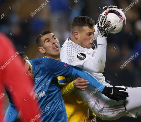 Maccabi Fc Goalkeeper Predrag Rajkovic (r) in Action During the Uefa Europa League Group D Soccer Match at the Petrovsky Stadium in St Petersburg Russia 24 November 2016 Russian Federation St. Petersburg