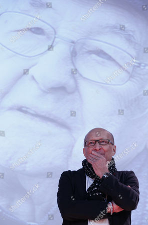 Polish Film and Theater Actor Wojciech Pszoniak Attends the Opening Ceremony of the Program 'After - Images Andrzej Wajda Retrospective of His Films' in the State Tretyakov Gallery in Moscow Russia 06 December 2016 Pszoniak Received International Recognition in 1975 After the Film of Andrzej Wajda 'The Promised Land' in Which He Played the Role of One of the Main Characters Moritz Andrzej Wajda Portrait is Shown on a Screen in the Background Russian Federation Moscow