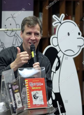 Jeff Kinney the American Author and Cartoonist of the 'Diary of a Wimpy Kid' Series Holds a News Conference in Seoul South Korea 13 December 2016 His Schedule Includes Being a Teacher For a Day at an Elementary School and Meeting with Seoul's Education Office Chief For Talks on Ideal Schools Korea, Republic of Seoul