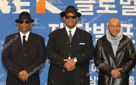 Stock Picture of Us Producers Terry Lewis (l) Jimmy Jam (c) and Us Pop Singer Peabo Bryson (r) Pose For Photographs During a Press Conference Promoting the Production of the One K Global Campaign Song at Sangam Ytn Media Hall in Seoul South Korea 08 December 2016 the Campain Seeks to Raise Awareness of Korean Reunification Efforts and Promote Regional Stability Through Cultural Exchange and Music Korea, Republic of Seoul