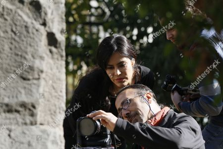 Bolivian Actress Carla Ortiz Checks a Camera with an Unidentified Photographer During the Shooting of a New Documentary Damascus Syria 04 December 2016 Ortiz is Reportedly Directing and Producing a Second Documentary in Damascus Ortiz Visited Damascus in May Too Syrian Arab Republic Damascus