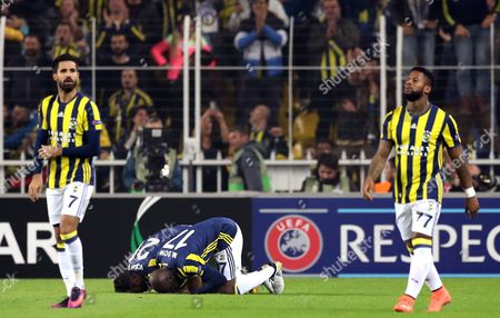 Fenerbahce Istanbul's Moussa Sow Celebrates His Goal (c-front) at the Uefa Europa League Group a Match Between Fenerbahce Istanbul and Manchester United in Istanbul Turkey 03 November 2016 Turkey Istanbul