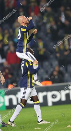 Fenerbahce's Miroslav Stoch (up) Celebrates After Scoring the 1-0 with Team Mate Moussa Sow at the Uefa Europa League Group a Match Between Fenerbahce and Zorya in Istanbul Turkey 24 November 2016 Turkey Istanbul