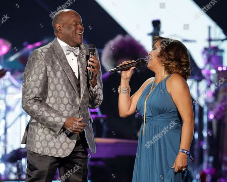 Dominican Singers Johnny Ventura (l) and Milly Quezada (r) Perform During the 2016 Latin Recording Academy Person of the Year Tribute at the Mgm Grand Garden Arena in Las Vegas Nevada Usa 16 November 2016 the Tribute is Celebrating Us Musician Marc Anthony For His Artistic Social Contributions to the Latin Music and Culture United States Las Vegas
