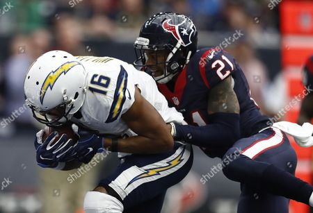 San Diego Chargers Player Tyrell Williams (l) Catches a Pass For a Touchdown Against Houston Texans a J Bouye (r) in the First Half of Their Nfl Game at Nrg Stadium in Houston Texas Usa 27 November 2016 United States Houston