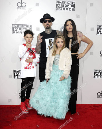 Landon Asher Barker Travis Barker Alabama Luella Barker and Atiana De La Hoya Arrive For the 2016 American Music Awards at the Microsoft Theatre in Los Angeles California Usa 20 November 2016 United States Los Angeles