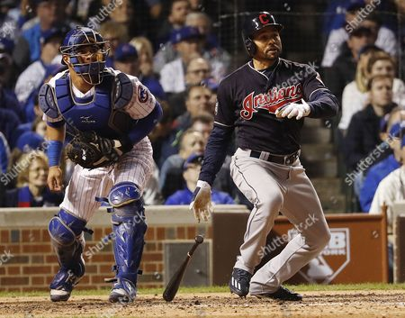 Cleveland Indians Batter Coco Crisp Hits an Rbi Single in the Top of the Seventh Inning of Game Three of the World Series Between the Chicago Cubs and the Cleveland Indians at Wrigley Field in Chicago Illinois Usa 28 October 2016 the Best-of-seven Series is Tied 1-1 and Games Three Four and Five Will Be Played in Chicago Before Returning to Cleveland For Games Six and Seven if Necessary United States Chicago