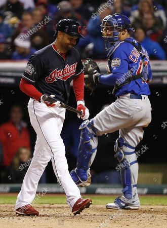 Cleveland Indians Batter Coco Crisp Reacts After Striking out in the Bottom of the Seventh Inning of Game Two of the World Series Between the Chicago Cubs and the Cleveland Indians at Progressive Field in Cleveland Ohio Usa 26 October 2016 the Indians Lead the Best-of-seven Series 1-0 United States Cleveland