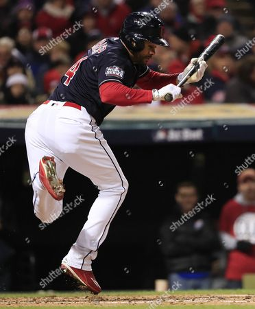 Cleveland Indians Batter Coco Crisp Jumps out of the Way of a Pitch in the Bottom of the Second Inning of Game Two of the World Series Between the Chicago Cubs and the Cleveland Indians at Progressive Field in Cleveland Ohio Usa 26 October 2016 the Indians Lead the Best-of-seven Series 1-0 United States Cleveland
