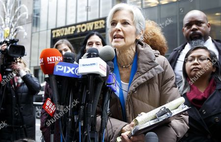 Us Green Party Presidential Candidate Jill Stein (c) Speaks During a Press Conference About the Ongoing Efforts She is Involved in to Recount Votes in Michigan Wisconsin and Pennsylvania Across the Street From Trump Tower in New York New York Usa 05 December 2016 United States New York