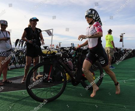 Stock Picture of Kristin Moeller of Germany Race out of the Transition Area to Start the Cycling Leg of the Competition of the Ironman World Championship in Hawaii Usa 08 October 2016 United States Kailua-kona