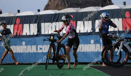 Kristin Moeller of Germany Races out of the Transition Area to Start the Cycling Leg of the Competition of the Ironman World Championship in Hawaii Usa 08 October 2016 United States Kailua-kona
