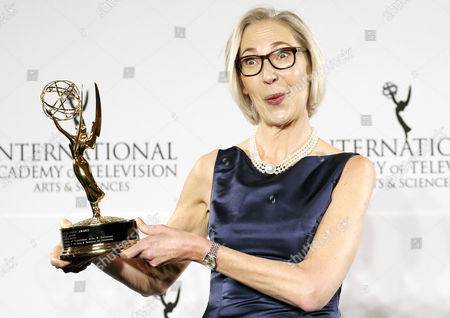 Maria Rorbye Ronn the Ceo and Director General of the Danish Broadcasting Corporation Poses with the Directorate Award in the Press Room at the 44th International Emmy Awards in New York New York Usa 21 November 2016 United States New York