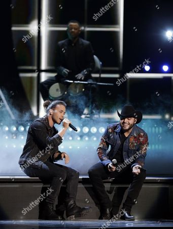 Prince Royce (l) and Gerardo Ortiz Perform on Stage During the 17th Annual Latin Grammy Awards at the T-mobile Arena in Las Vegas Nevada Usa 17 November 2016 Latin Grammy Awards Recognize Artistic and Technical Achievement not Sales Figures Or Chart Positions and the Winners Are Determined by the Votes of Their Peers and Qualified Voting Members of the Academy United States Las Vegas