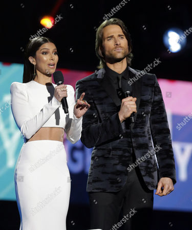 Roselyn Sanchez (l) and Sebastian Rulli Speak Onstage As Hosts of the 17th Annual Latin Grammy Awards at the T-mobile Arena in Las Vegas Nevada Usa 17 November 2016 Latin Grammy Awards Recognize Artistic and Technical Achievement not Sales Figures Or Chart Positions and the Winners Are Determined by the Votes of Their Peers and Qualified Voting Members of the Academy United States Las Vegas
