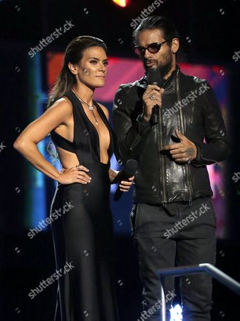 Angelique Boyer (l) and Draco Rosa Speak During the 17th Annual Latin Grammy Awards at the T-mobile Arena in Las Vegas Nevada Usa 17 November 2016 Latin Grammy Awards Recognize Artistic and Technical Achievement not Sales Figures Or Chart Positions and the Winners Are Determined by the Votes of Their Peers and Qualified Voting Members of the Academy United States Las Vegas