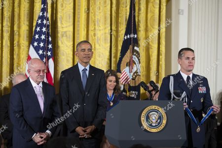 A Photo Made Available on 23 November 2016 Shows Us President Barack Obama (2-l) Awarding President of Miami Dade College Eduardo Padron (l) the Presidential Medal of Freedom During a Ceremony in the East Room of the White House in Washington Dc Usa 22 November 2016 United States Washington