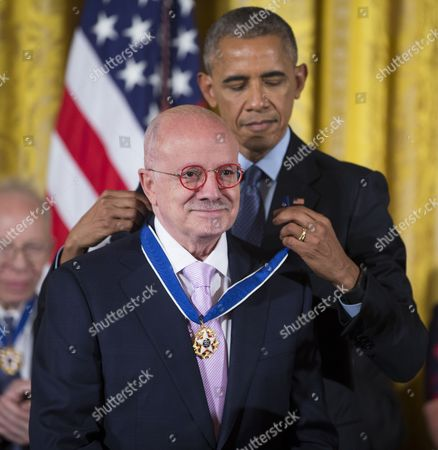 A Photo Made Available on 23 November 2016 Shows Us President Barack Obama (r) Awarding the President of Miami Dade College Eduardo Padron the Presidential Medal of Freedom During a Ceremony in the East Room of the White House in Washington Dc Usa 22 November 2016 United States Washington