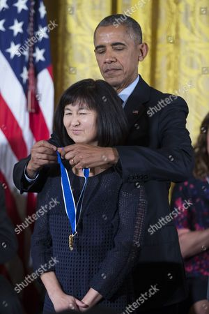 Us President Barack Obama Awards Maya Lin (l) Designer of the Vietnam Veterans Memorial in Washington Dc the Presidential Medal of Freedom During a Ceremony in the East Room of the White House in Washington Dc Usa 22 November 2016 United States Washington