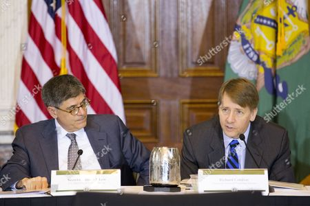 Us Treasury Secretary Jack Lew (l) Listens to Richard Cordray (r) Director of the Us Consumer Financial Protection Bureau Deliver Remarks at a Public Meeting of the Financial Literacy and Education Commission (flec) at the Treasury Department in Washington Dc Usa 03 November 2016 the Meeting Discussed New Findings For Youth Financial Capability and the Flec National Strategy For Financial Literacy Update For 2016 United States Washington