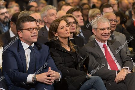 Luc Carvounas, Anne Gravoin and Claude Bartolone at the left-wing primary for the 2017 French presidential election at Palais des Sports