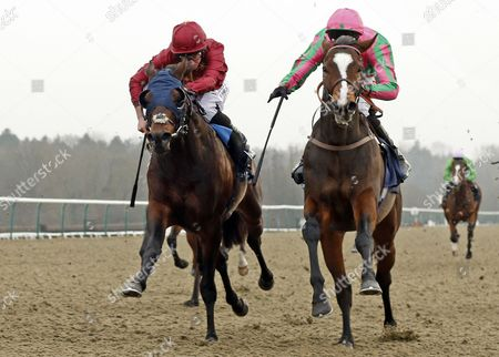 FASHION BUSINESS (right, George Baker) beats AMERICAN HISTORY (left) in The 32Red Casino Maiden Stakes Lingfield