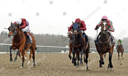 FASHION BUSINESS (right, George Baker) beats AMERICAN HISTORY (centre) and BORN LEGEND (left) in The 32Red Casino Maiden Stakes Lingfield