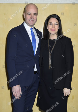 Fredrik Reinfeldt with his pregnant girlfriend Roberta Alenius who also is his press secretary, Attendance at the presentation of scholarships from the Micael Bindefeld Foundation in Memory of the Holocaust, The Royal Swedish Opera,
