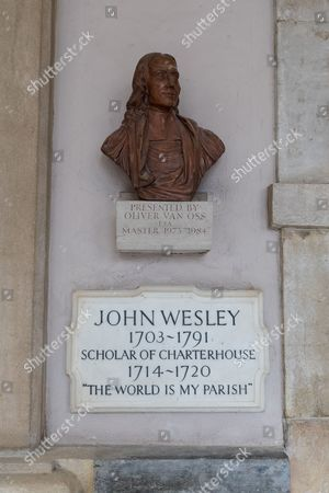 Plasterbus and plaque for John Wesley, Scholar of Charterhouse. London?s Charterhouse, a former 12th-century Carthusian monastery and burial ground for victims of the Black Death, opened its doors to the public for the first time in 400 years today, including the opening of a new museum.