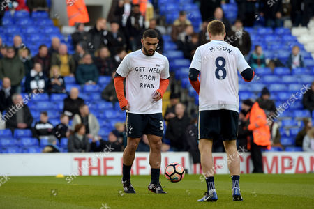 "Cameron Carter-Vickers of Tottenham Hotspur and Eric Dier  wear T Shirts with a ""Get well soon Ryan"" message ahead of the FA Cup 4th round tie against Wycombe Wanderers. The specially commissioned shirts feature the message for Ryan Mason the Hull midfielder who fractured his scull in a clash with Gary Cahill of Chelsea in a match at Stamford Bridge on 22 January. The shirt also has ""Mason 8"" on the back. A reference to his number at Hull City."