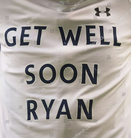 Tottenham Hotspur players wear special Get Well T-shirts for Ryan Mason