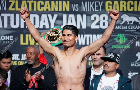 Mikey Garcia reacts during a weigh-in, in Las Vegas. Garcia is scheduled to fight Dejan Zlaticanin, of Montenegro, in a lightweight title Boxing bout title bout Saturday in Las Vegas