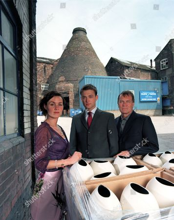 'Blue Dove'   TV  Clare, Nick and their Uncle Gerry Weston (Esther Hall, Paul Nicholls and Nicky Henson) outside the Blue Dove Pottery works