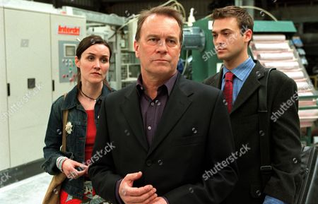 'Blue Dove'   TV  The twins, Nick and Clare (Paul Nicholls and Esther Hall) pictured at the factory, with their Uncle Gerry (Nicky Henson)