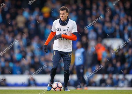 Dele Alli of Tottenham Hotspur warming up in his get well Ryan Mason shirt before the Emirates FA Cup match between Tottenham Hotspur and Wycombe Wanderers played at White Hart Lane Stadium, London on 28th January 2017