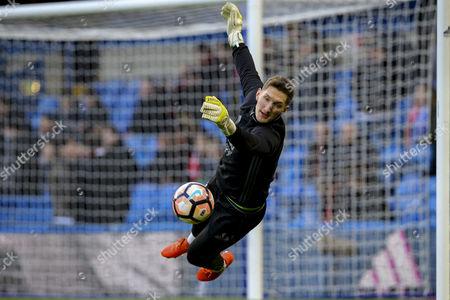 Daniel James Bentley of Brentford warms up