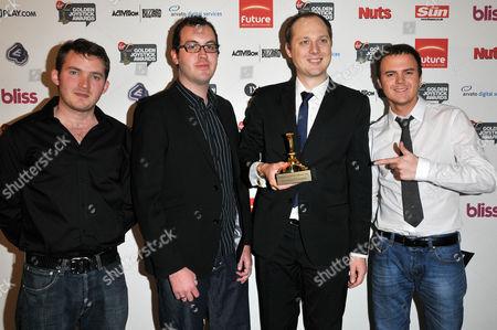 Matt Littler (L) and Darren Jon Jeffries (R) from Hollyoaks pictured with winners of E4.com Grand Master Flash Award: Stickman Madness, Jodie Smith and Darius Bagdziunas (holding award).
