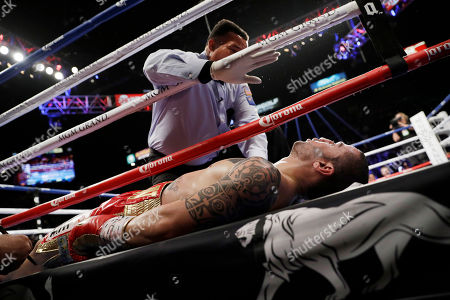 Stock Picture of Referee Tony Weeks calls the fight as Dejan Zlaticanin, of Montenegro, lies on the mat after getting knocked out by Mikey Garcia during a lightweight title boxing match, in Las Vegas