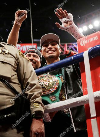 Mikey Garcia celebrates after defeating Dejan Zlaticanin, of Montenegro, during a lightweight title boxing match, in Las Vegas