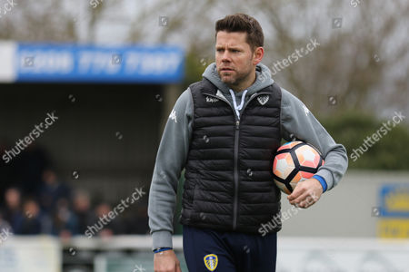 James Beattie organises the Leeds pre-match training during Sutton United  vs Leeds United, Emirates FA Cup Football at the Borough Sports Ground on 29th January 2017