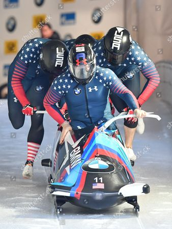Steven Holcomb, Carlo Valdes, James Reed and Samuel McGuffie from the United States in action during the Four-Man race at the Bobsleigh World Cup on the artificial ice channel at Koenigssee near Berchtesgaden, Germany, 29 January 2017.