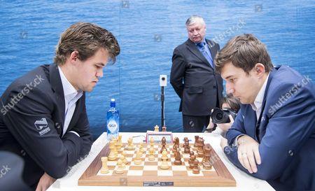 Anatoly Karpov, Magnus Carlsen and Sergey Karjakin