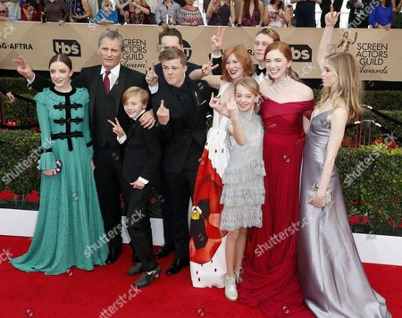 Samantha Isler, Viggo Mortensen, Charlie Shotwell, Matt Ross (hidden), Nicholas Hamilton, Trin Miller, Shree Crooks, George MacKay, Annalise Basso and Erin Moriarty from the cast of the Captain Fantastic arrive for the 23rd annual Screen Actors Guild Awards ceremony at the Shrine Exposition Center in Los Angeles, California, USA, 29 January 2017.
